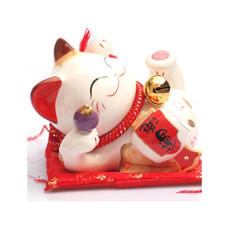 金石工坊 陶瓷招财猫 开业礼品 躺猫摆件 大号_sc53206