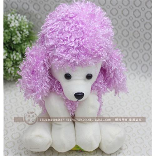 可爱卡通动物 毛绒小狗笔袋 铅笔袋 毛绒玩具 开学六一礼物_浅紫色