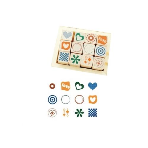 陆捌壹肆 韩国文具 装饰diy日记手工相册可爱印章 12只木盒装 2款可选