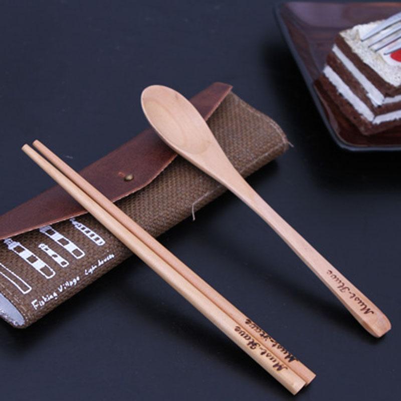 餐具包 餐具套装 筷子 勺子 蓝色