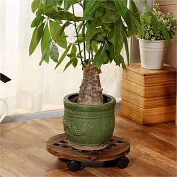欧式实木可移动花盆架带
