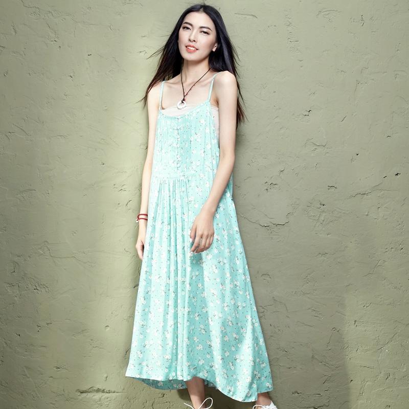韩版学生女士女款大码女装棉麻服装衣服 当当限时抢满额减 碎花 风琴