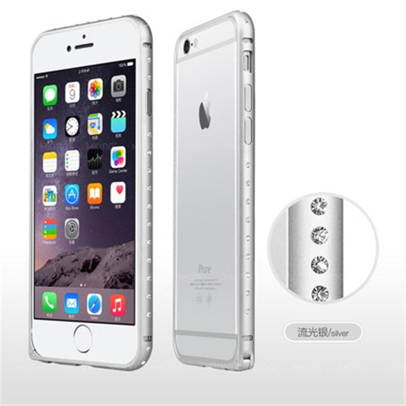 5寸手机套iphone6金属边框外壳4.7超薄水钻保护壳