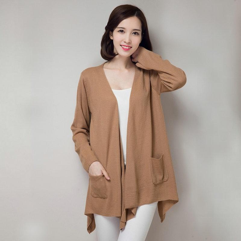 人间-秋冬新品韩版女式毛衣开衫宽松中长款打底针织衫