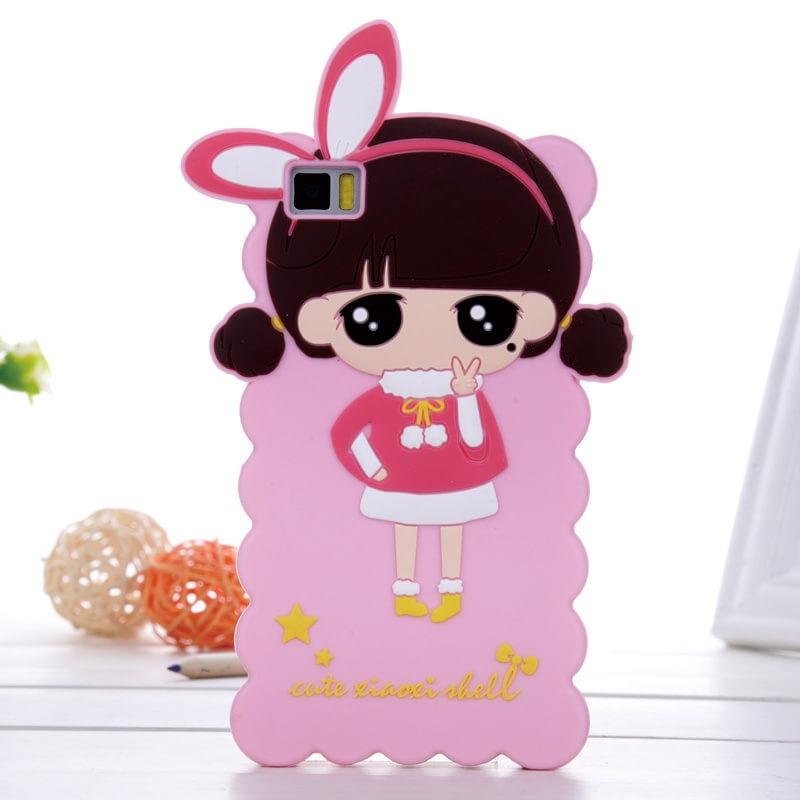 小米手机套 小米手机壳 可爱卡通小希防摔软硅胶萌_粉红兔耳