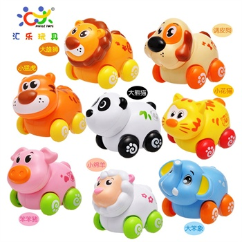 汇乐小淘气动物乐园 惯性动物玩具车 边走头边摇摆 超可爱助力车
