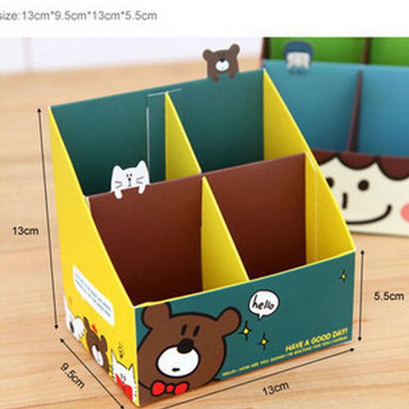 清新可爱女孩小熊 四格纸质桌面整理收纳盒 单个