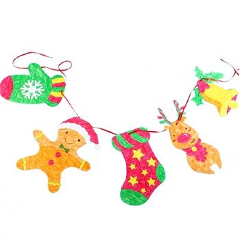 艺趣幼儿手工材料包圣诞节纸卡挂饰6个装儿童手工diy材料装饰挂饰