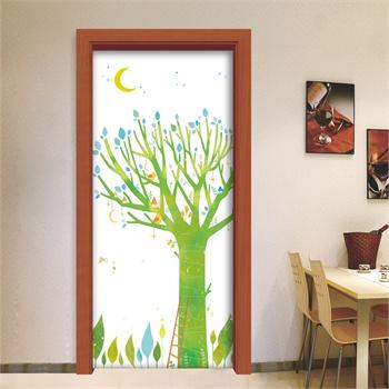 手绘卡通树 客厅卧室儿童房室内*门贴图片