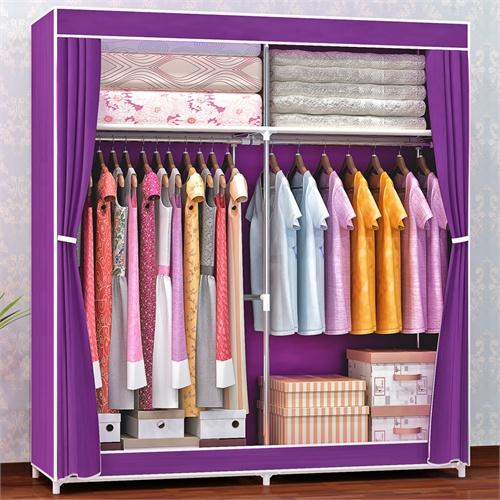 蜗家布衣柜 钢管加粗16mm 简易衣柜 大号加固布衣橱储