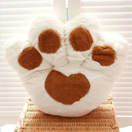 可爱卡通熊掌坐垫靠垫大号毛绒玩具熊爪抱枕靠背靠枕包邮_米白色50*45