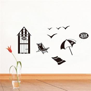 沙滩休憩墙贴可移除墙壁装饰画墙纸客厅卧室床头家居