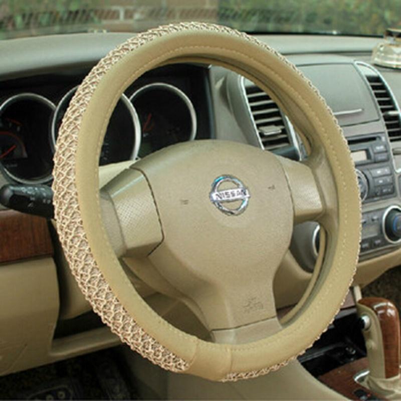 虎贝贝 夏季冰丝汽车方向盘套 汽车把套_冰丝把套-米色黄色