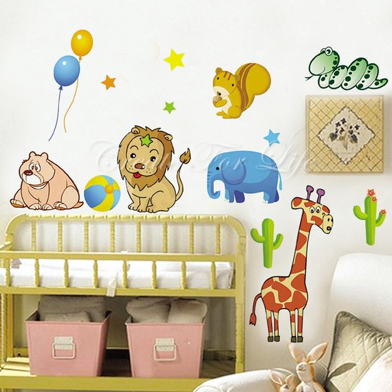 卡通动物园墙贴 可移除墙壁装饰画 墙纸 客厅 卧室 床头 家居必备.