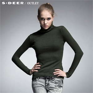 sdeer圣迪奥专柜正品女装秋装领袖金线边修身毛衣2383567
