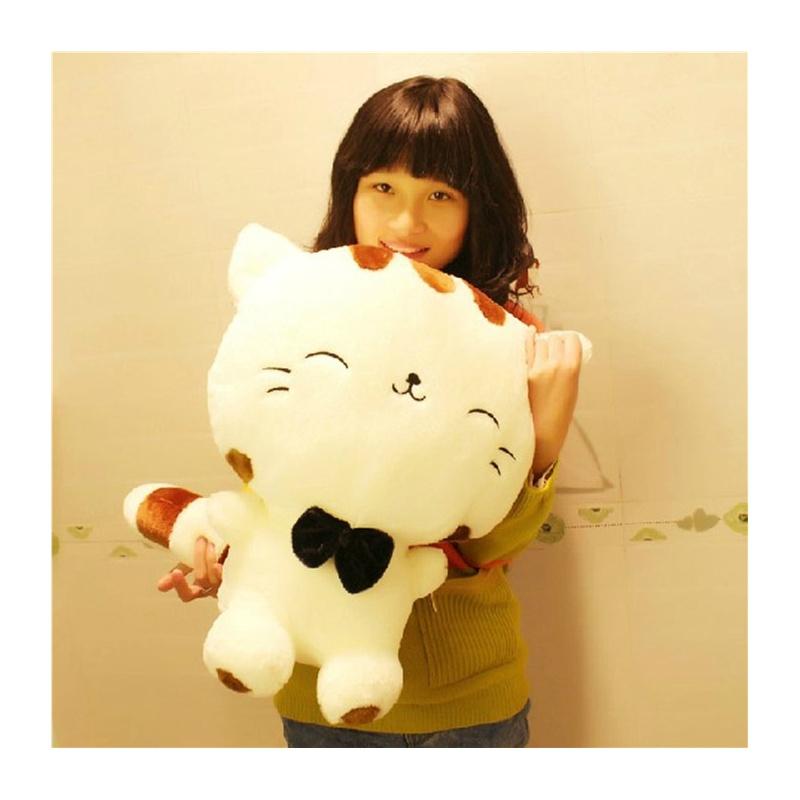 可爱大尾巴大脸猫饭团猫 毛绒玩具公仔娃娃抱枕生日礼物_黄色 80厘米