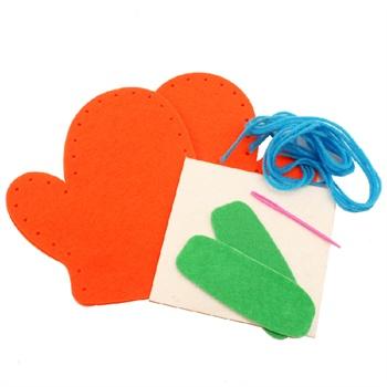艺趣幼儿手工材料包圣诞节不织布手套儿童手工diy玩具