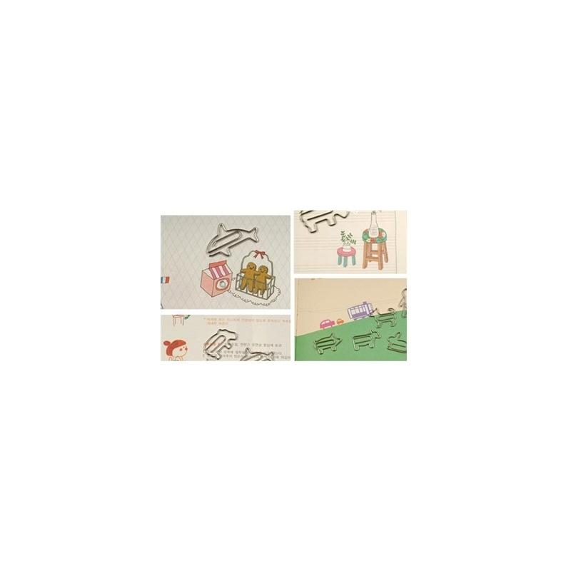 陆捌壹肆 韩国文具 卡通可爱 小动物金属书签 回形针套装 曲别针 20个