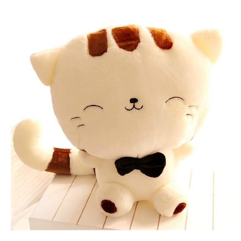 可爱大尾巴大脸猫饭团猫 毛绒玩具公仔娃娃抱枕生日礼物_米色 65厘米