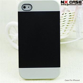 撞色二合一 苹果4/4s简约时尚手机套 保护壳_4/4s黑色 白色,iphone4