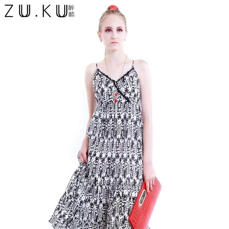 2014夏季新款高腰黑白花纹连衣裙