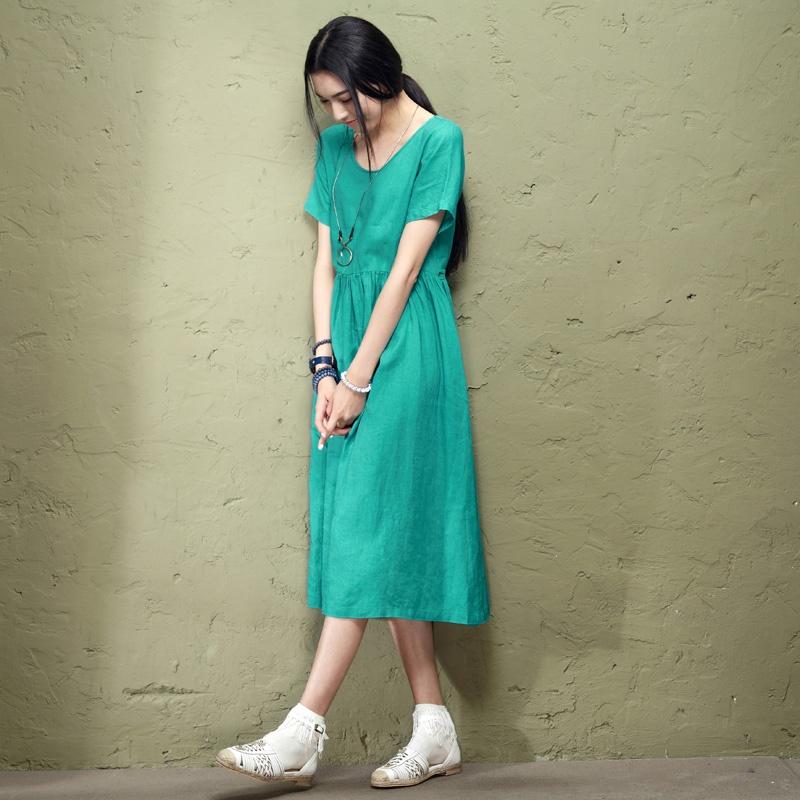 森宿 国境~2015夏装新款包边圆领简约文艺连衣裙裙子 2417197 文.