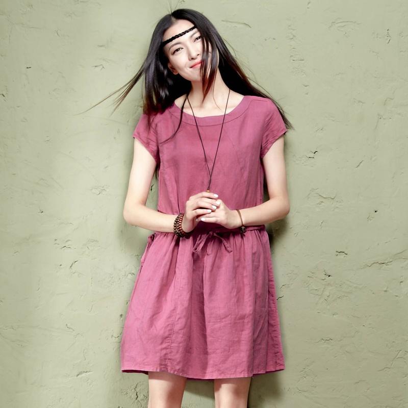 女士服装 裙装 森宿 够~2014夏季新款复古圆领不规则分割碎褶连衣裙图片