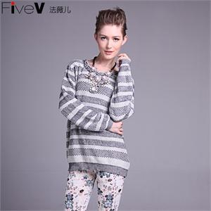 【FiveV法薇儿】货到付款 新款女士毛织上衣毛衣针织衫  毛衣女款 打底毛衣 女士毛衣 女装 毛衣 13W7112