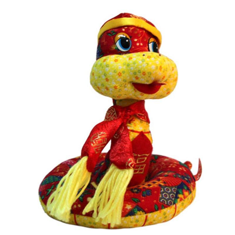 蛇年玩具 手工布艺蛇 中号卡通唐装款