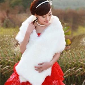 名门新娘 婚纱披肩礼服披肩 冬毛披肩 加厚加长毛一字披 冬季041