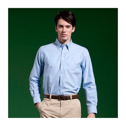 圣大保罗专柜正品 男装男士纯棉净色春夏长袖衬衫男衬衣ps11wh004_浅