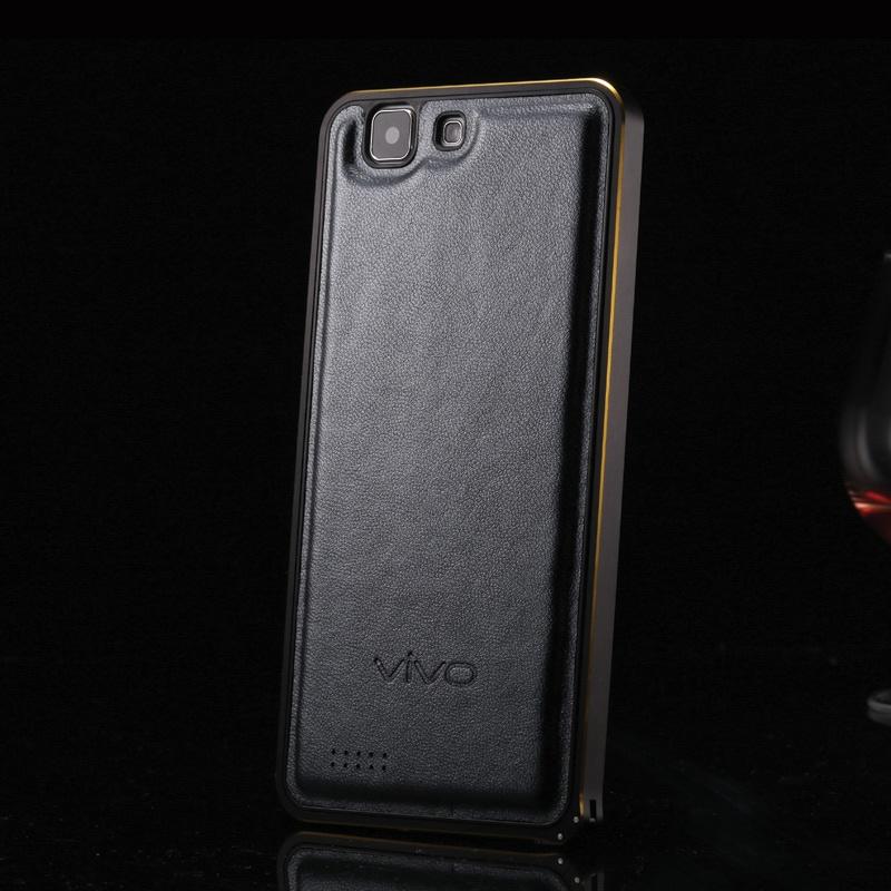 vivox3l手机壳 步步高x3l手机套 vivo x3金属边框羊皮背板_黑色