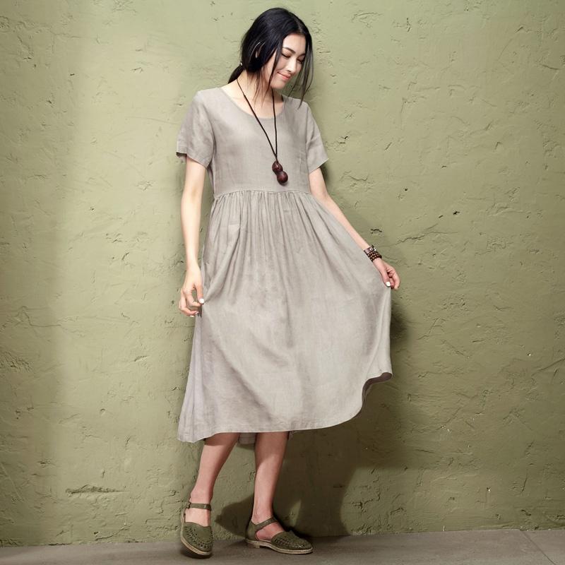 森宿 国境~2014夏装新款包边圆领简约文艺连衣裙