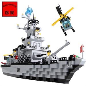 巡洋战舰警察系列积木玩具乐高式拼装航母积木船拼插