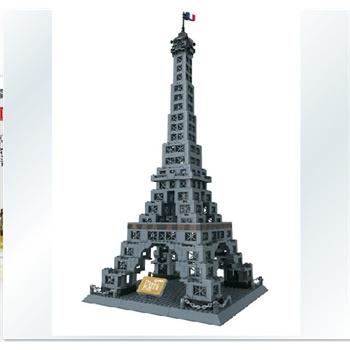 万格积木正品拼插乐高式塑料拼装积木世界名建筑埃菲尔铁塔8015