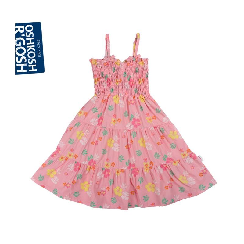 oshkosh2013夏款纯棉印花吊带连衣裙可爱公主女童裙子_粉红,150cm