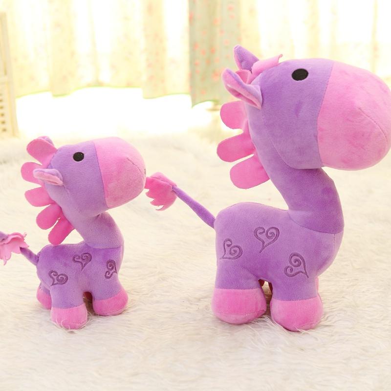 毛绒玩具可爱小马公仔玩偶 小毛驴布娃娃生日礼物 转运马_富贵紫30