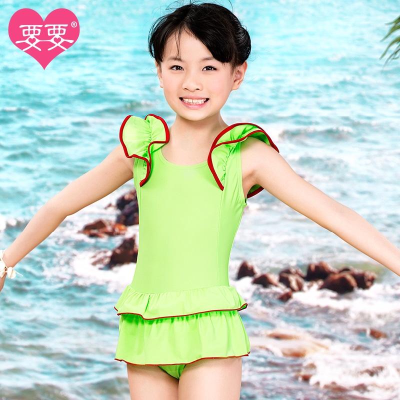 要要儿童泳衣2014新款女童宝宝大童韩国可爱公主蛋糕连体裙式游泳衣