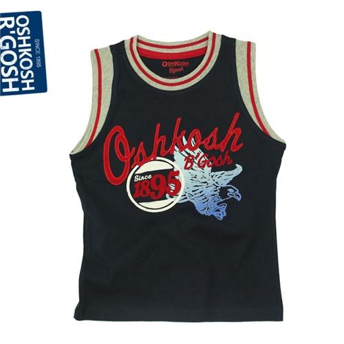 oshkosh正品童装 男童纯棉短袖t恤 纯棉篮球衣 贴布印花2013夏款