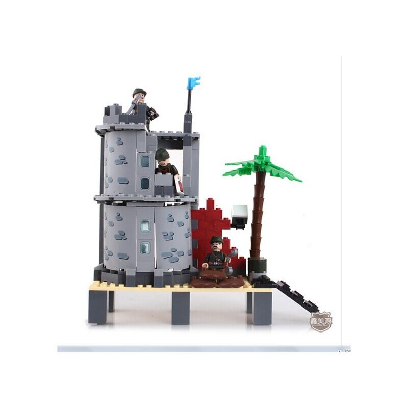 启蒙乐高式拼装积木 海岛炮营819 海上军舰玩具