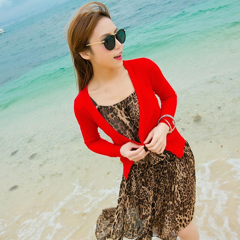 【谜秀】度假品牌 夏装新款~韩版女装披肩 纯色防晒衫 薄款长袖针织衫