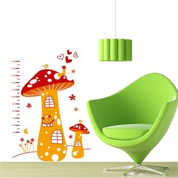 身高蘑菇墙贴 可移除墙壁装饰画 墙纸 客厅 卧室 床头