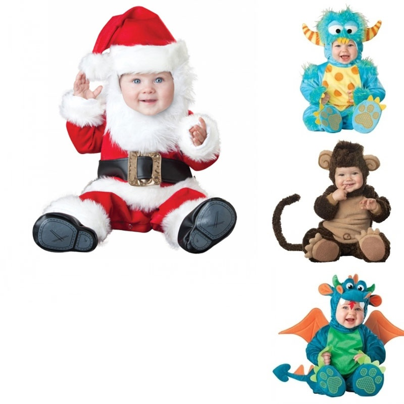 儿童圣诞节新年冬装动物造型衣服宝宝外出棉服男女加厚婴儿连体套装