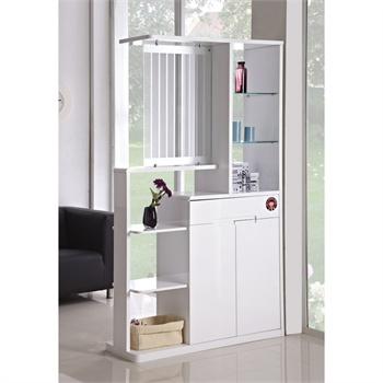 小憨豆正品 现代简约白色玄关柜 白色钢琴烤漆门厅带鞋柜隔断柜子