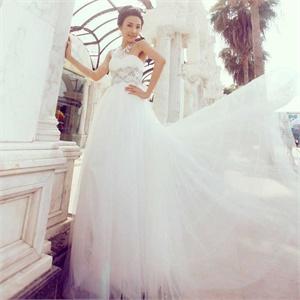 名门新娘婚纱礼服 简约单件婚纱 高贵型 韩版小拖尾婚纱851