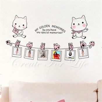 猫咪相框墙贴 可移除墙壁装饰画 墙纸 客厅 卧室 床头