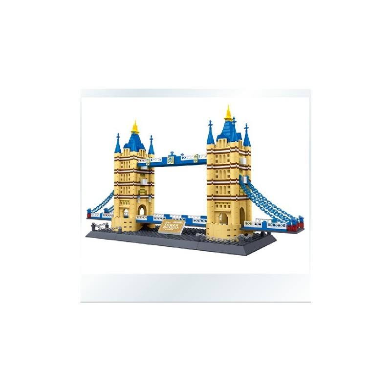 万格积木拼插乐高式塑料拼装积木世界名建筑伦敦双子桥8013