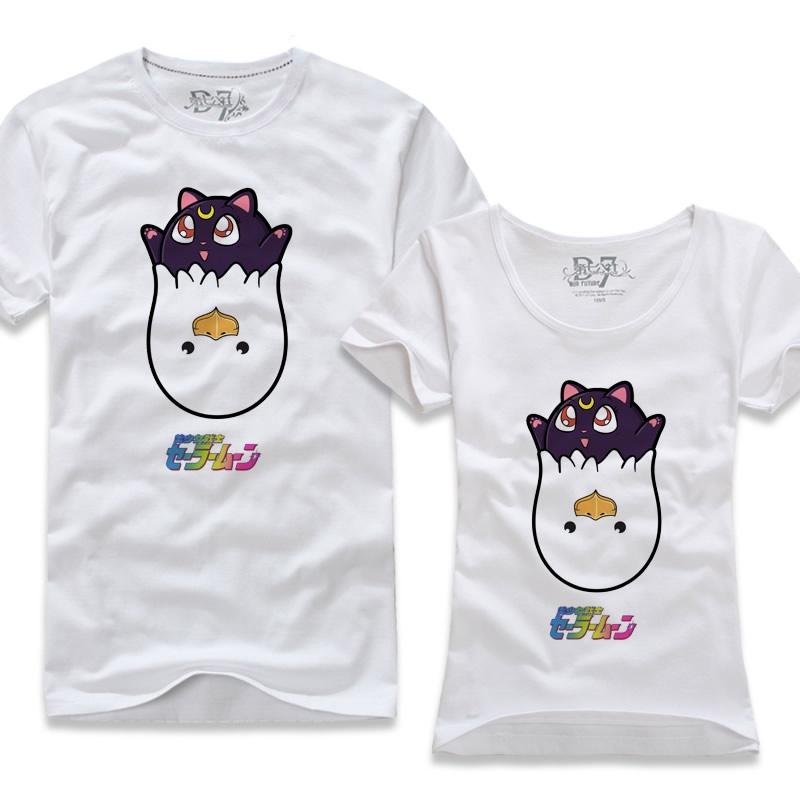 第七公社 原创乐鸡可爱猫咪短袖t恤姐妹装 韩版女学生装闺蜜装_白色