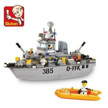 塑料拼装益智轮船积木玩具乐高式拼插积木男孩玩具