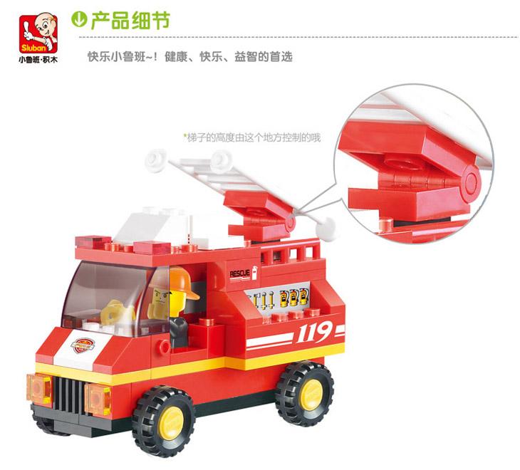 商品说明 产品名称:小鲁班急速火警之机场消防队 产品型号:M38-B0219 积木数量:211片 产品尺寸:29.5*20.5*4.5(cm) 适用年龄:6岁以上 产品材料:ABS环保原料 小鲁班的品牌理念是:开启你才智的潜能,拼积出更优美的精品模型,成就更多的现代小鲁班! 聪明成就未来. 拼装玩具能开发孩子的智力,激发儿童的想象力和创造力.